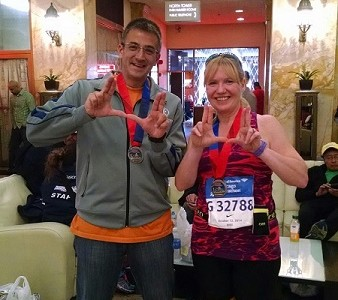 Music instructors Chris Corpus and Jason Landes ready themselves for the Chicago Half Marathon.  This was Landes' first time running at the popular destination.