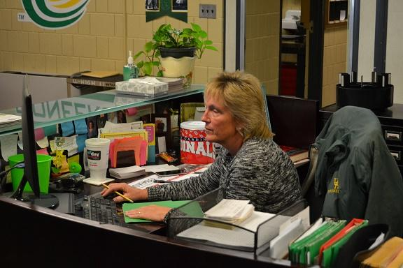 Administrative Assistant and Attendance Supervisor Linda Witte covers many of the jobs that keep the front office running smoothly.