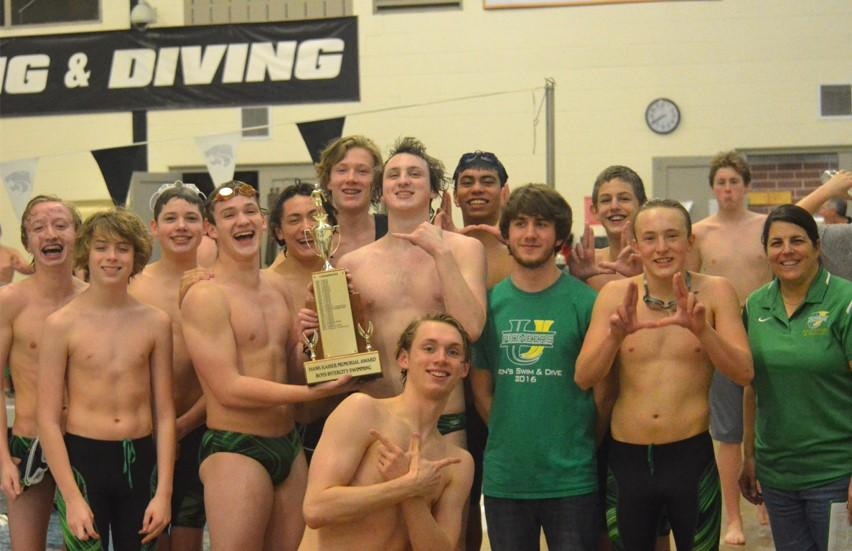 The+2017+Boys+Swim+and+Dive+Intercity+Champions+pose+with+their+well-fought+hardware.+Scoring+564+points+and+beating+NCHS%2C+second+place%2C+by+66+points%2C+the+U-High+team+swept+intercity+for+the+first+time+in+three+years.
