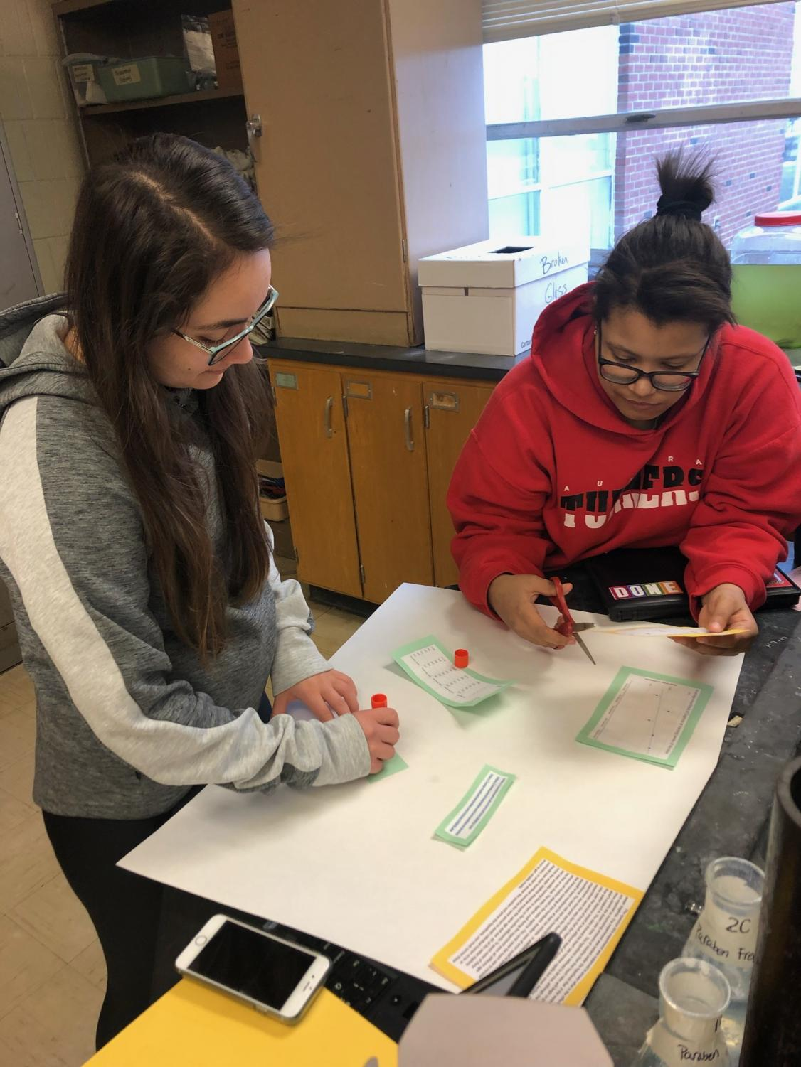 Environmental Science students, Abriana Ruiz and Teagan Jordan, gather the results of their study on the effects of vaping into a poster report.