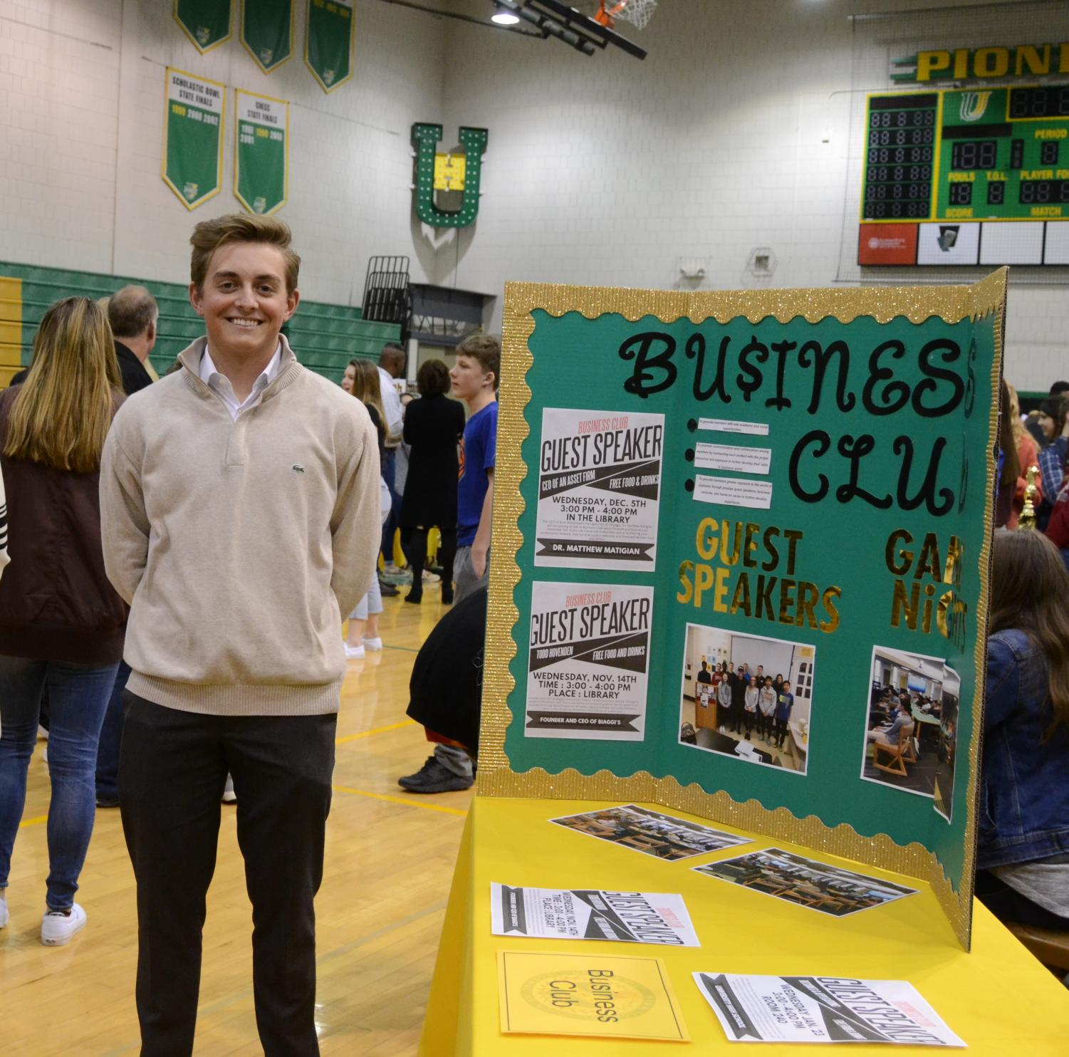 Joseph Newcomer showcases the Business Club at the Prospective Student Open House.