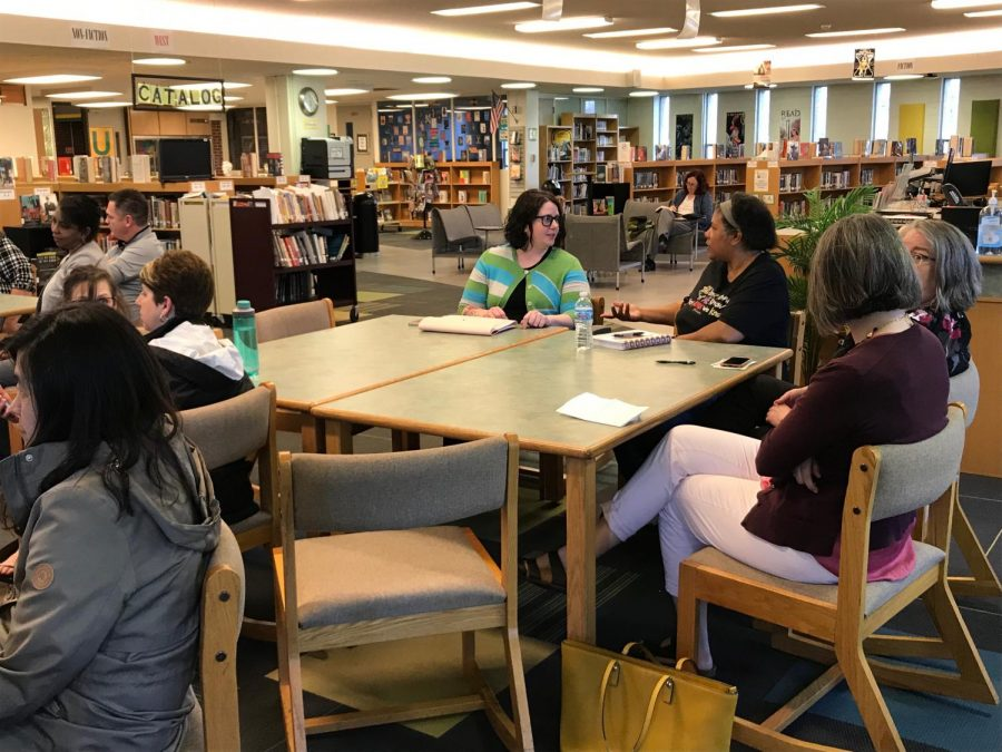 Parents participated in a Town Hall meeting with Superintendent Dana Kinley and U-High administrators on Tuesday, April 9, to share perspectives on the swastika incident that occurred prior to spring break.