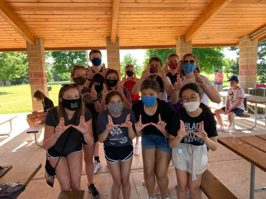 A number of students participated in the BLM protest in June, including Erica Rosenberger, Rylee Camp, Maya Wilson, Yvin Shin, Madison Rosenberger, Kate Embry, Carol Gardner, Emma Bottomley, Ian Kelly, Abby Keene, Amelia Markert.