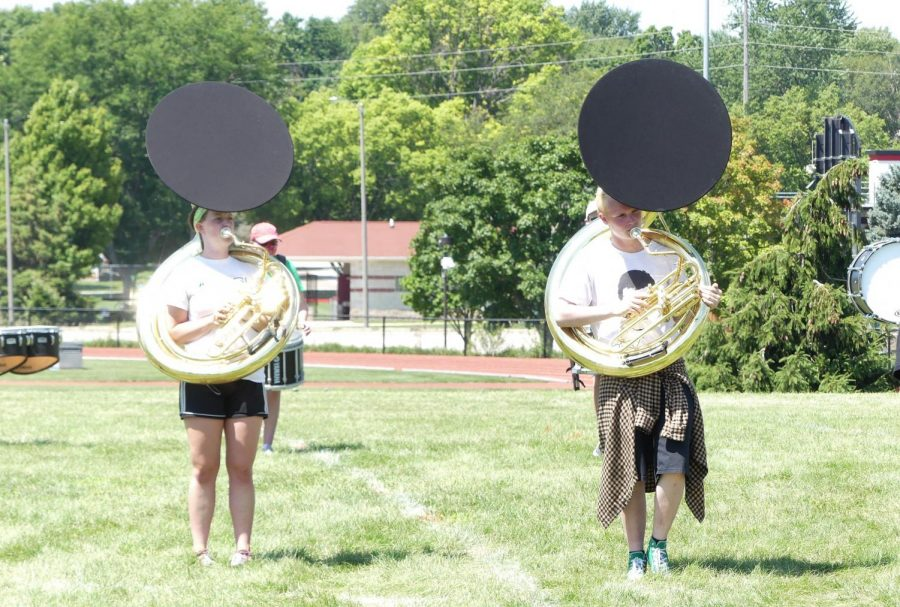 Band utilized bell covers too reduce the spread of germs as students marched on the field.